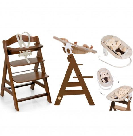 Hauck Alpha+B 4 in 1 Highchair / Lowchair / Adult Chair & Bouncer - Walnut / Hearts Beige