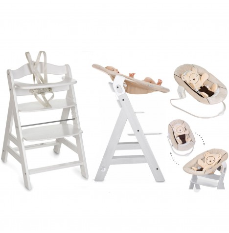 Hauck Alpha+B 4 in 1 Highchair / Lowchair / Adult Chair & Bouncer - White / Hearts Beige