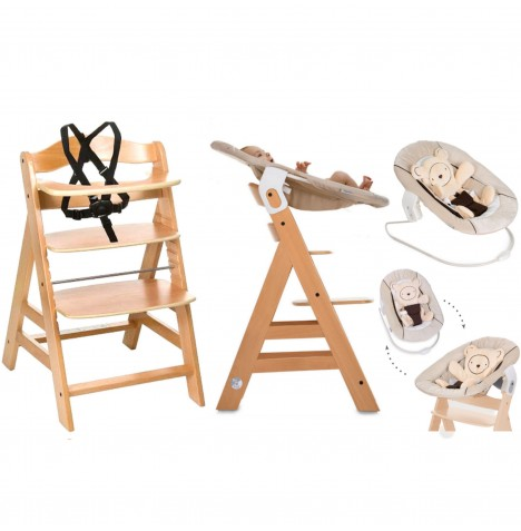 Hauck Alpha+B 4 in 1 Highchair / Lowchair / Adult Chair & Bouncer - Natural / Hearts Beige