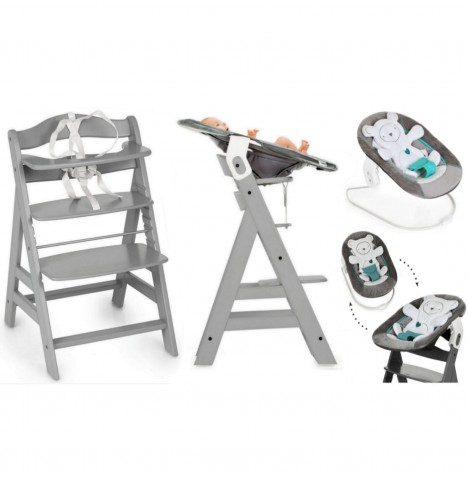 Hauck Alpha+B 4 in 1 Highchair / Lowchair / Adult Chair & Bouncer - Grey / Hearts Grey