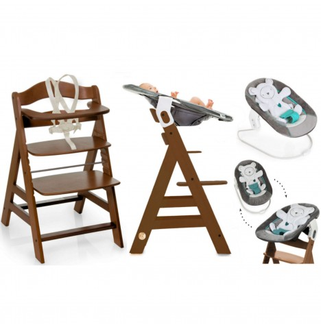 Hauck Alpha+B 4 in 1 Highchair / Lowchair / Adult Chair & Bouncer - Walnut / Hearts Grey