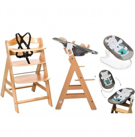 Hauck Alpha+B 4 in 1 Highchair / Lowchair / Adult Chair & Bouncer - Natural / Hearts Grey