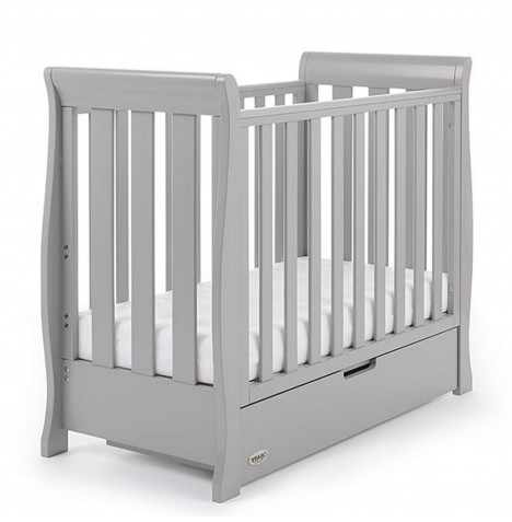 Obaby Stamford Space Saver Sleigh Cot & Under Drawer - Warm Grey