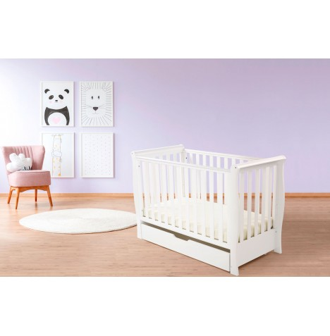 4Baby Pisa Sleigh Cot & Drawer With Deluxe 4inch Foam Mattress - White