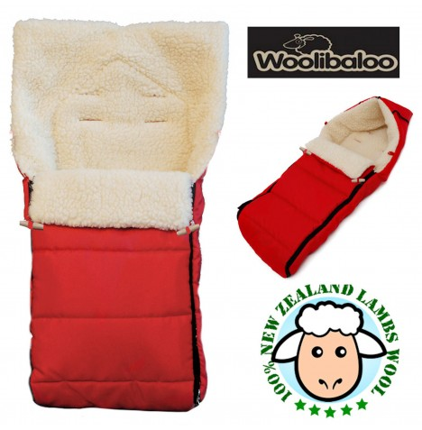 Woolibaloo 100% Luxury New Zealand Lambswool Footmuff / Cocoon - Red..