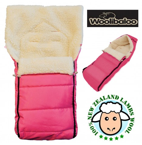Woolibaloo 100% Luxury New Zealand Lambswool Footmuff / Cocoon - Pink..