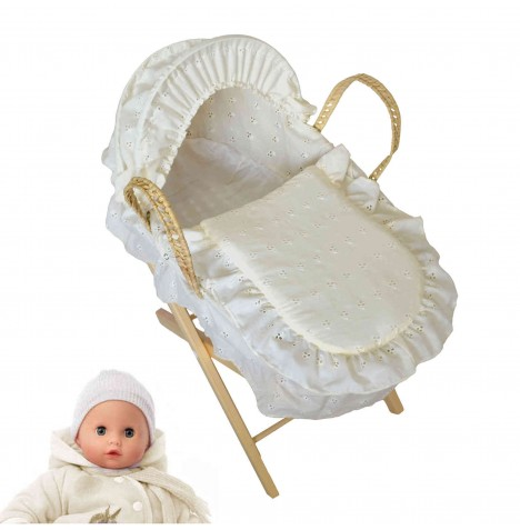 4Baby Luxury Dolls Broderie Anglaise Moses Basket & Pine Stand - Cream...
