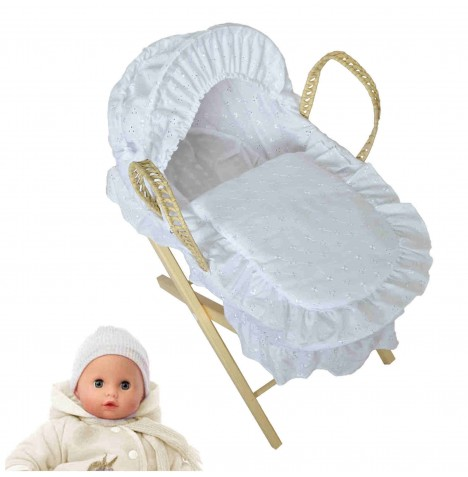 4Baby Luxury  Dolls Broderie Anglaise Moses Basket & Pine Stand - White...