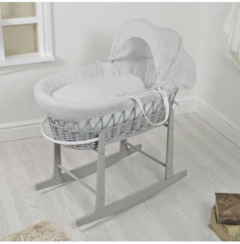 4Baby Padded Grey Wicker Moses Basket & Rocking Stand - Grey Waffle...