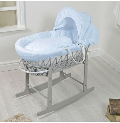 4Baby Padded Grey Wicker Moses Basket & Rocking Stand - Blue Waffle...