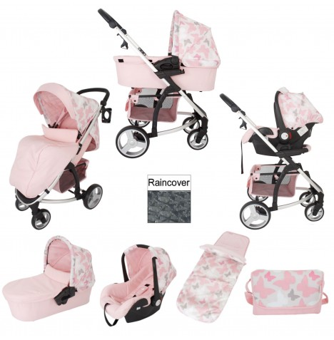 My Babiie MB200+ Travel System Bundle With Carrycot - Pink Butterflies
