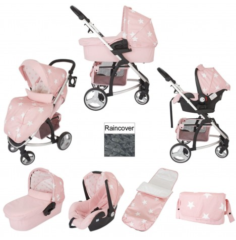My Babiie MB200+ Travel System Bundle With Carrycot - Pink Stars