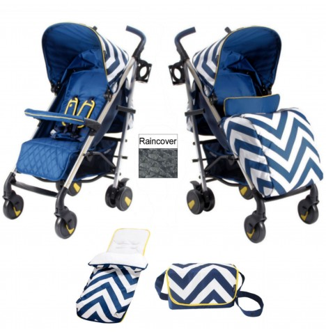 My Babiie MB51 Stroller Bundle - Blue Chevron