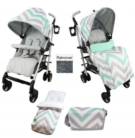 My Babiie MB51 Stroller Bundle - Mint Chevron