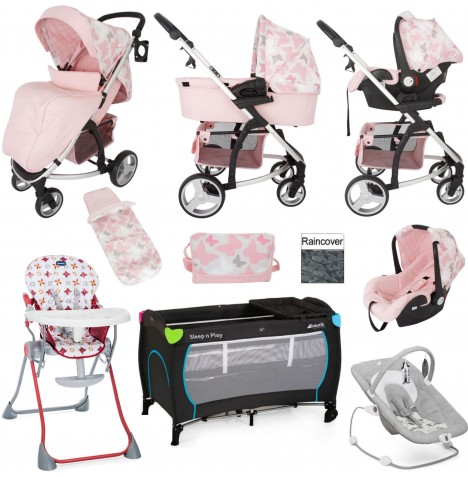 My Babiie / Joie MB200+ Everything You Need Travel System Bundle With Accessories - Pink Butterflies