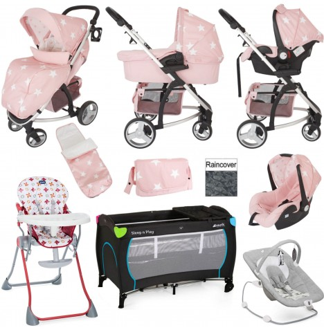 My Babiie / Joie MB200+ Everything You Need Travel System Bundle With Accessories - Pink Stars
