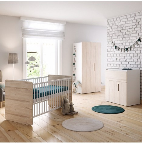 Little Acorns Oxford 5 Piece Nursery Room Set With Deluxe 4inch Foam Mattress - Birch / White