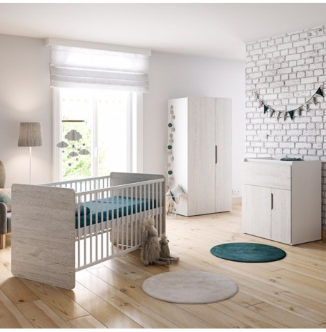 Little Acorns Oxford 5 Piece Nursery Room Set With Deluxe 4inch Foam Mattress - Grey Birch / White