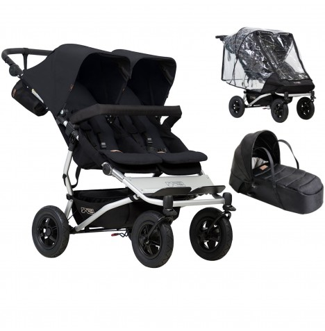 Mountain Buggy Duet V3 Twin Pushchair With Cocoon Carrycot & Storm Cover - Black