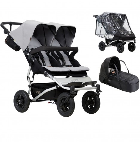Mountain Buggy Duet V3 Twin Pushchair With Cocoon Carrycot & Storm Cover - Silver..