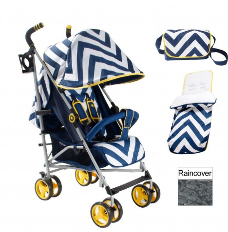 My Babiie MB02 Stroller Bundle - Blue Chevron