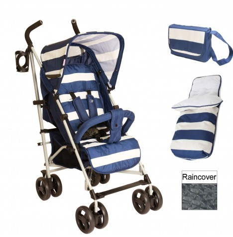 My Babiie MB01 Stroller Bundle *Billie Faiers Signature Range* - Blue Stripes