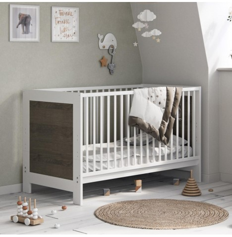 Little Acorns Luxury Portland Cot Bed With Deluxe 4inch Foam Mattress - White/Grey Oak
