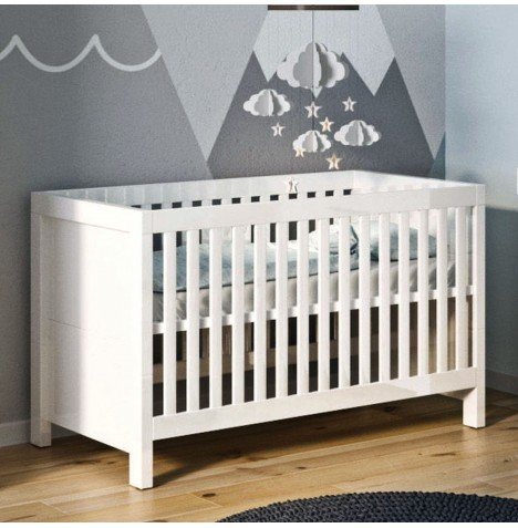 Little Acorns Luxury Snow High Gloss Cot Bed With Deluxe 4inch Foam Mattress - White