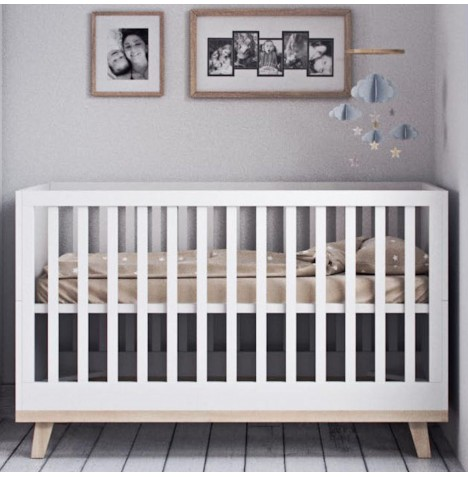 Little Acorns Luxury Genoa Cot Bed With Deluxe 4inch Foam Mattress - White
