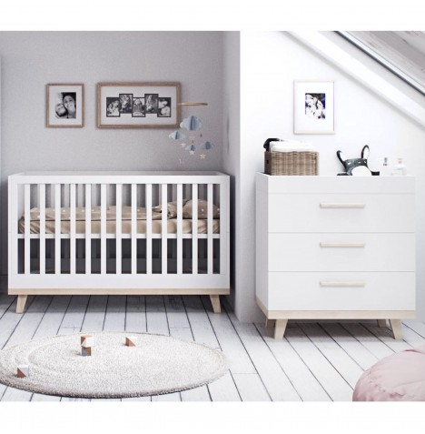 Little Acorns Luxury Genoa 4 Piece Nursery Room Set - Cot Bed With Deluxe 5inch Maxi Air Cool Mattress & Dresser - White