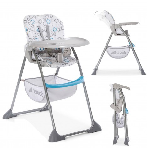 Hauck Sit n Fold Highchair - Circles Blue / Grey