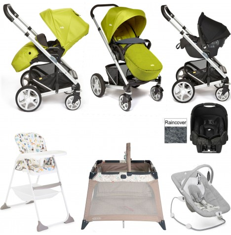 Joie Chrome Plus Everything You Need Gemm Travel System Bundle - Silver / Green