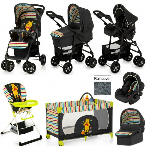 Hauck Shopper Trio Set Everything You Need Travel System & Carrycot Bundle - Pooh Tidy Time