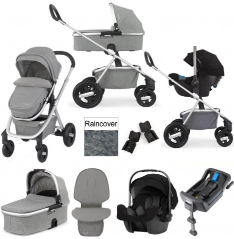 Nuna Ivvi Savi Pipa Icon Travel System With Isofix Base & Carrycot - Frost