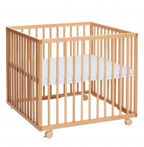 Babydan Comfort Wooden Playpen & Mat - Natural / Grey Stripes