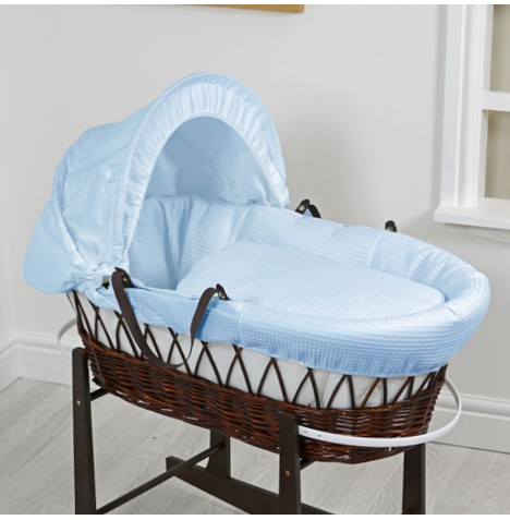 4Baby Deluxe Padded Dark Wicker Baby Moses Basket - Waffle Blue