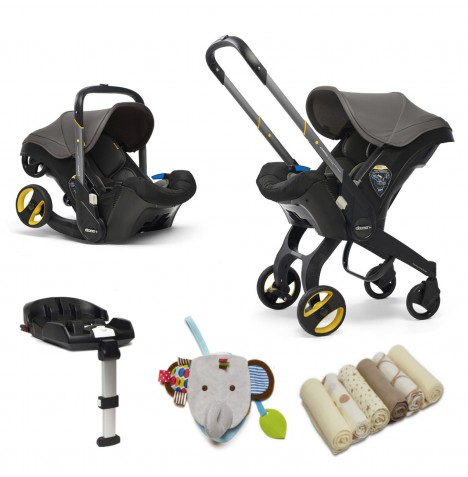 Doona Infant Car Seat / Stroller With Isofix Base & Accessories - Greyhound
