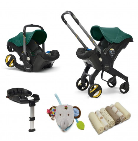 Doona Infant Car Seat / Stroller With Isofix Base & Accessories - Racing Green