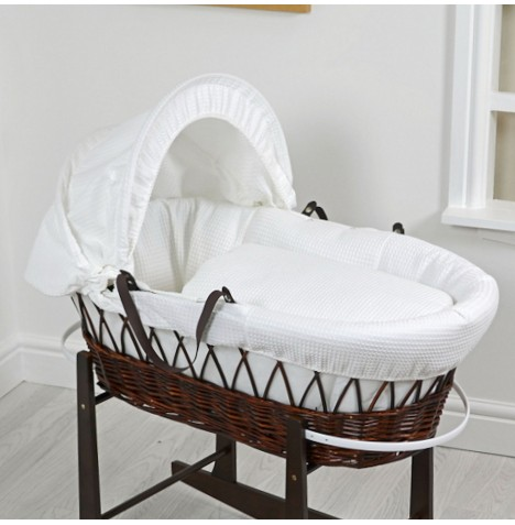 4Baby Deluxe Padded Dark Wicker Baby Moses Basket - White Waffle