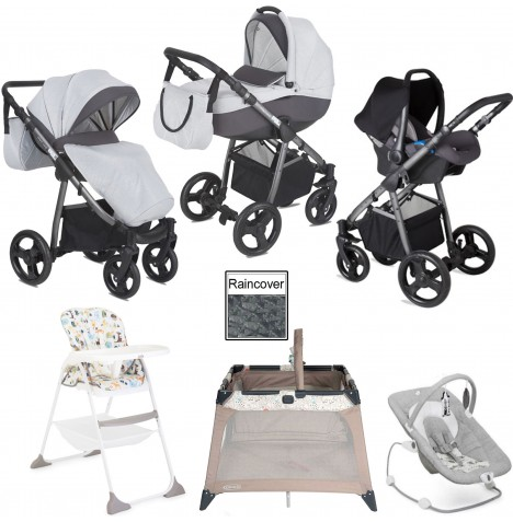 Joie / Mini Uno Stride Everything You Need Travel System Bundle - Grey Melange