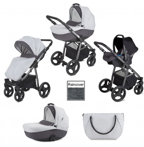 Mini Uno Stride Travel System - Grey Melange..