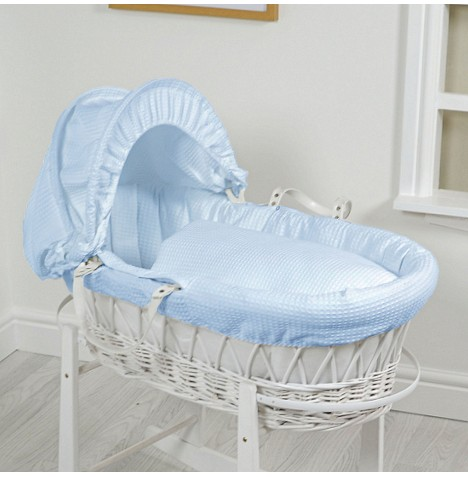 4Baby Luxury Padded White Wicker Baby Moses Basket - Blue Waffle