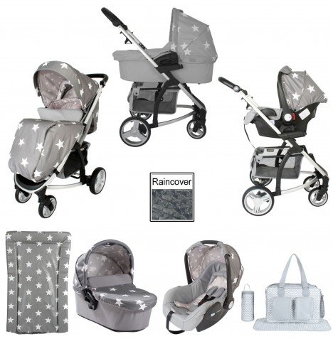 My Babiie MB200+ *Billie Faiers Collection* Travel System & Carrycot Bundle - Grey Stars