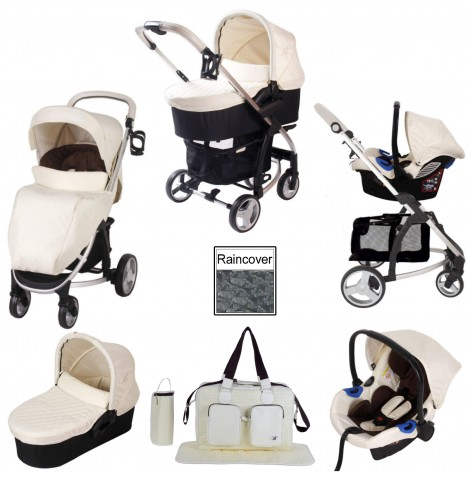 My Babiie MB200+ Travel System & Carrycot Bundle - Cream