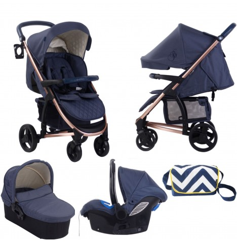 My Babiie MB200+ *Billie Faiers Collection* Travel System & Carrycot Bundle - Rose Gold & Navy