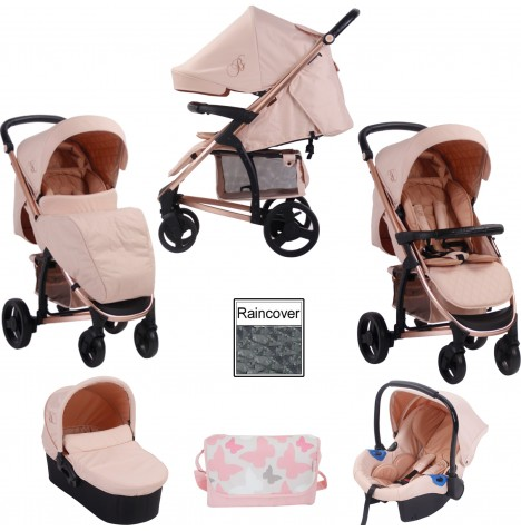 My Babiie MB200+ *Billie Faiers Collection* Travel System & Carrycot Bundle - Rose Gold & Blush