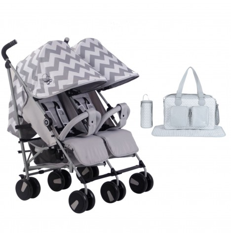 My Babiie MB22 *Billie Faiers Collection* Twin Stroller Bundle - Grey Chevron