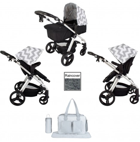 My Babiie MB150 2in1 Pram / Pushchair Bundle - Grey Chevron