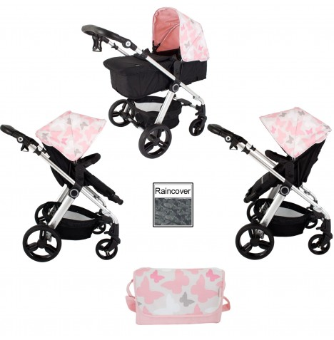 My Babiie MB150 *Katie Piper Collection* 2in1 Pram / Pushchair Bundle - Pink Butterflies