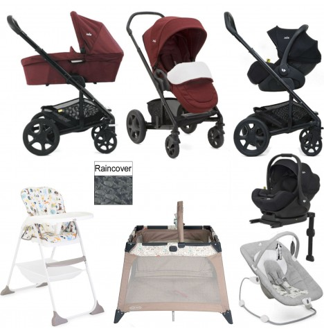 Joie Chrome DLX Everything You Need I-Level Travel System (With Carrycot) Bundle - Cranberry